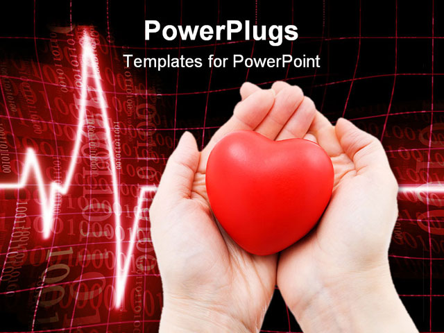 A red heart in caring female hands a cardiogram in the for Cardiac ppt template