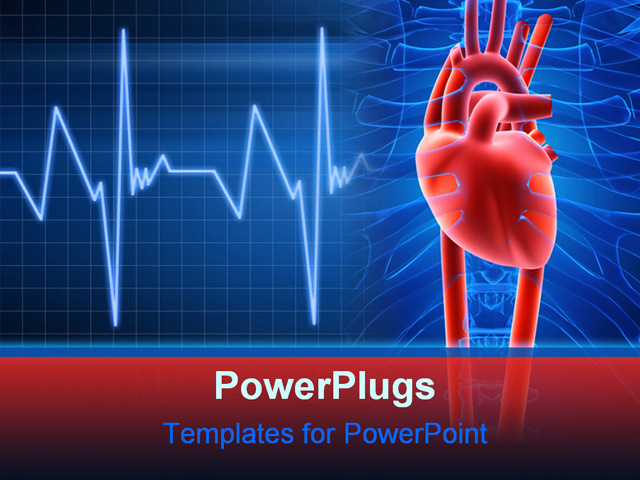 Powerpoint template light and dark blue medical for Cardiac ppt template