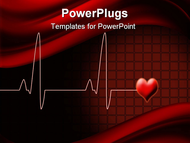 Powerpoint template electrocardiogram wave lines with for Cardiac ppt template
