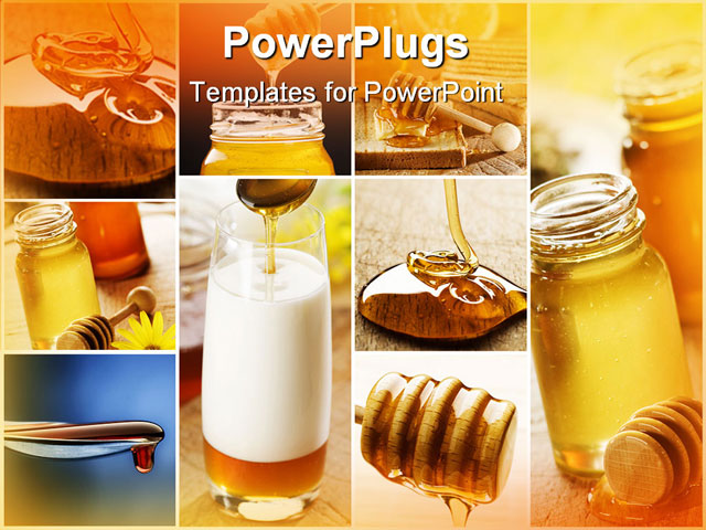 PowerPoint Template - beautiful honey collage made from six photographs - Title Slide
