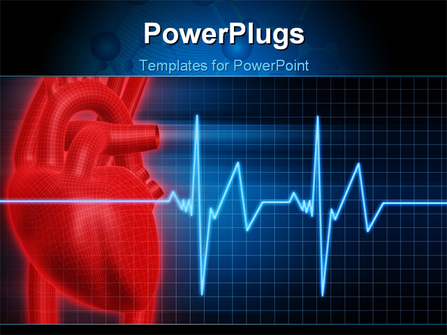 cardiac ppt template - 3d rendered anatomy illustration of a human red heart