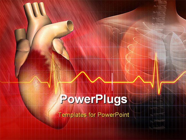 PowerPoint Template - Digital illustration of a heart and human body - Title Slide
