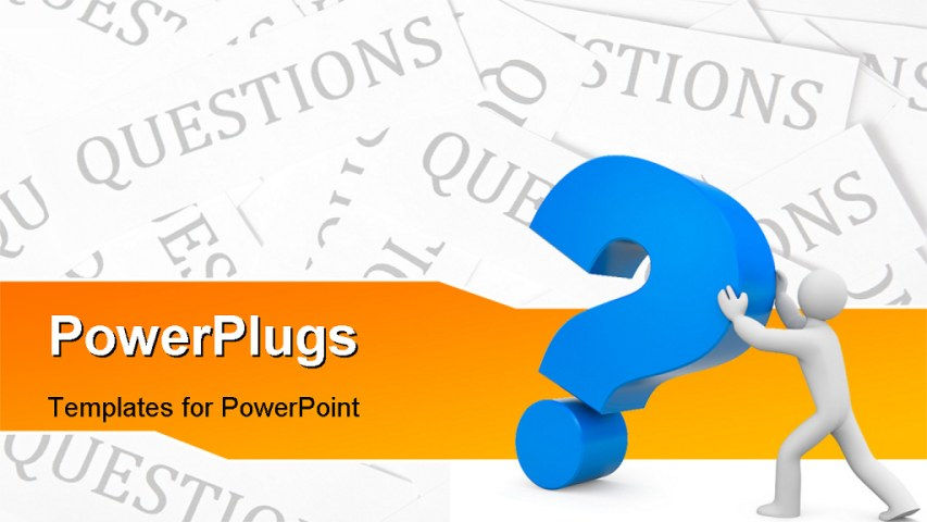 powerpoint questions and answers template - powerpoint template 3d man pushing large blue question