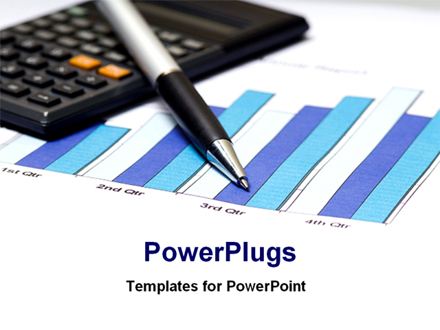 PowerPoint Template - financial bar chart with calculator and pen - Title Slide