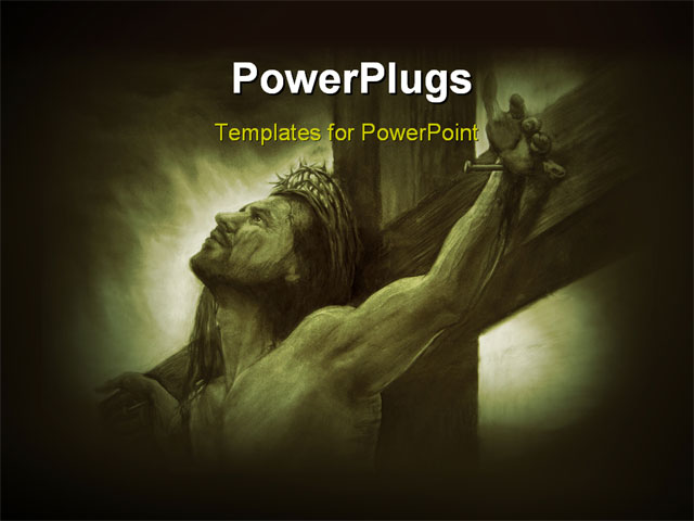 PowerPoint Template - Jesus the Messiah on the cross Savior of the World - Title Slide