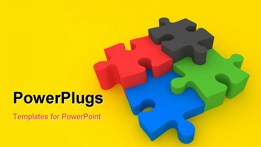 powerpoint template colorful jigsaw pieces over yellow. Black Bedroom Furniture Sets. Home Design Ideas