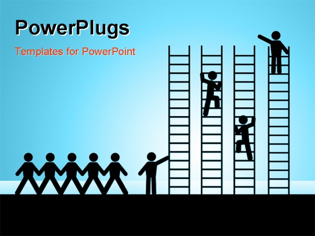 PowerPoint Template - paper chain figures business man climbing ladder of success and getting job promotion - Title Slide