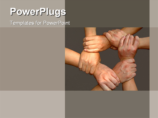 PowerPoint Template about hands, join hands, together team