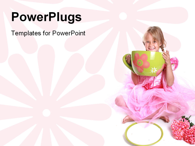 PowerPoint Template - Cute little girl having a tea party. - Title Slide