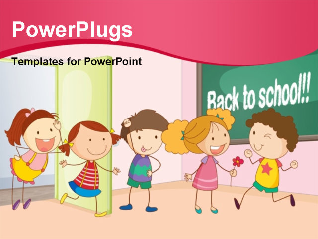 powerpoint template kids playing and having fun together in classroom with back to school. Black Bedroom Furniture Sets. Home Design Ideas