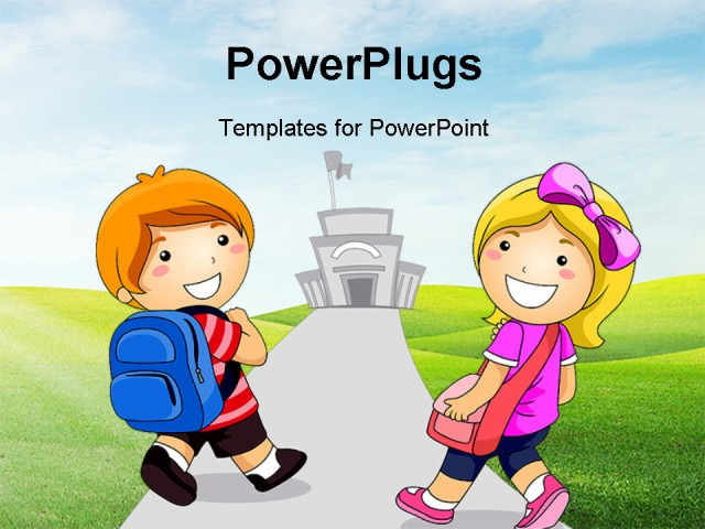 PowerPoint Template - Illustration Featuring a Young Boy and Girl Going to School - Title Slide
