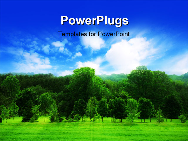 powerpoint template a number of trees with clouds in the
