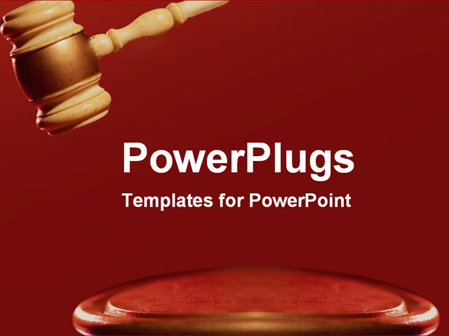 strong red gavel making a decision powerpoint template