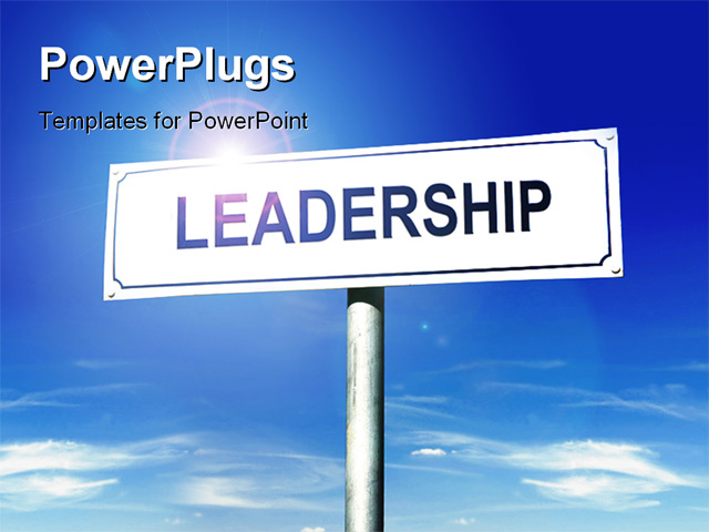 metal signpost with leadership word over blue sky powerpoint template
