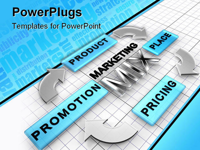 PowerPoint Template about marketing mix, 4ps, advertising
