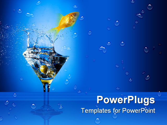 PowerPoint Template - Close up view of the splash martini on blue - Title Slide