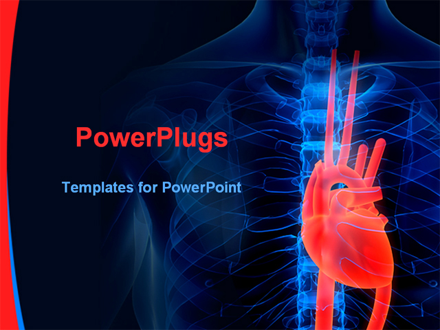 cardiovascular powerpoint template free - 3d rendered illustration of a highlighted heart powerpoint