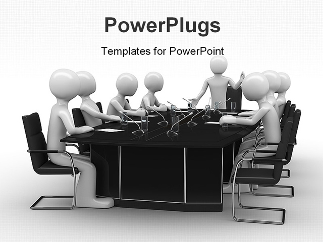 powerpoint template group of white figures sitting around black table with microphones 20326. Black Bedroom Furniture Sets. Home Design Ideas