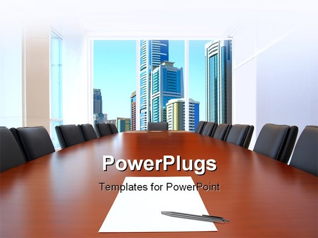 meeting room in front focus placed sheet of paper and pen on table powerpoint template. Black Bedroom Furniture Sets. Home Design Ideas