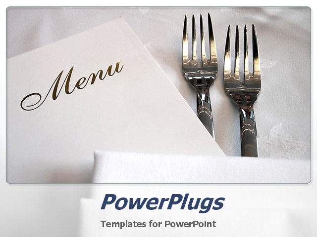 powerpoint template two forks and the menu card with white background 20388. Black Bedroom Furniture Sets. Home Design Ideas