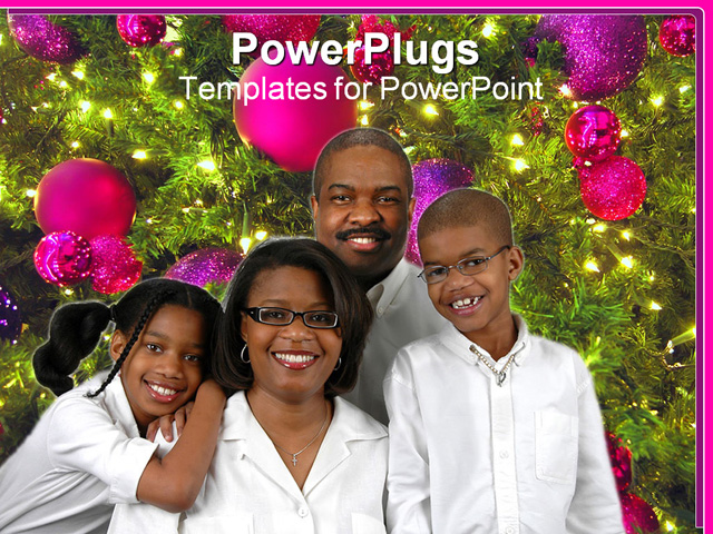 Black Family Christmas Portraits PowerPoint Template - Family