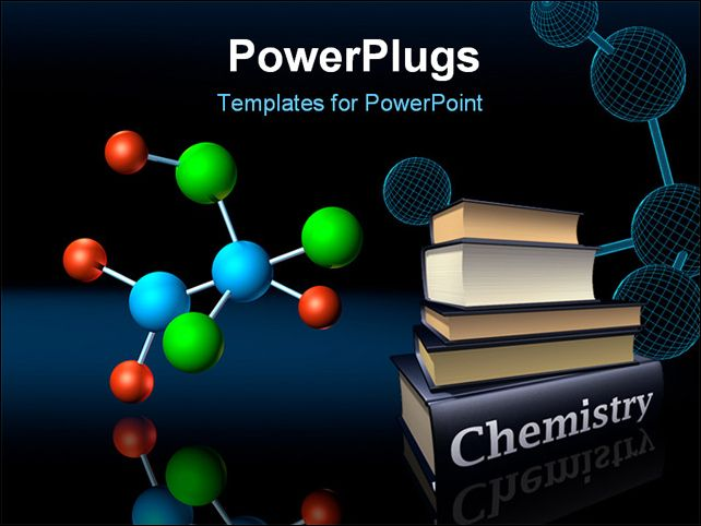 PowerPoint Template - Molecular atoms and wireframe model on dark reflective background - Title Slide