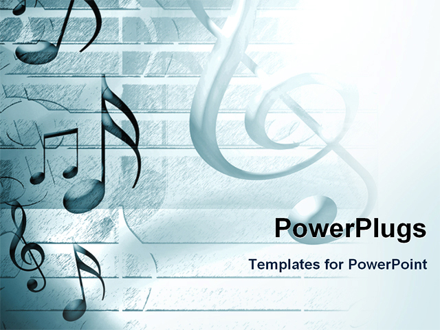 PowerPoint Template - music background with notes and sheet music - Title Slide