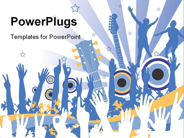 funky music party in shades of blue powerpoint template