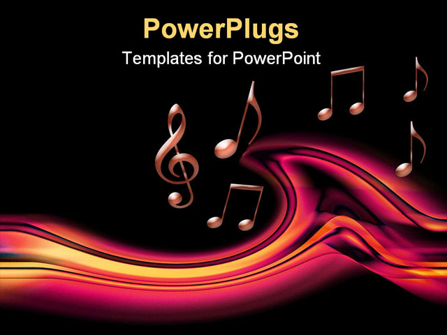 Powerpoint template lots of pink musical notes on a black for Music themed powerpoint templates