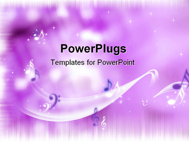 PowerPoint Template - Music notes on a purple background: some kind of a party - Title Slide
