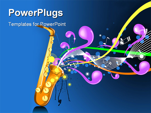music themed powerpoint templates - powerpoint template music depiction with saxophone