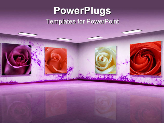 PowerPoint Template: Art Gallery With Beautiful Purple Color, Different Roses In The Frames (21564