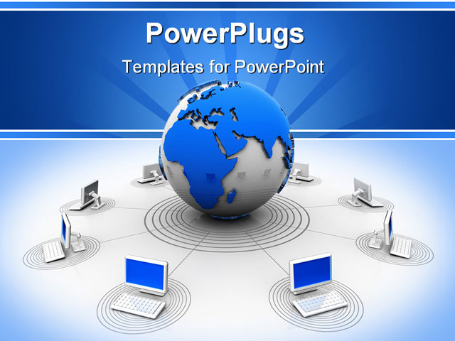 Computer network powerpoint template ppt slide computer network conceptual computers network connected at world 3d render computer network powerpoint template ppt slide toneelgroepblik Images