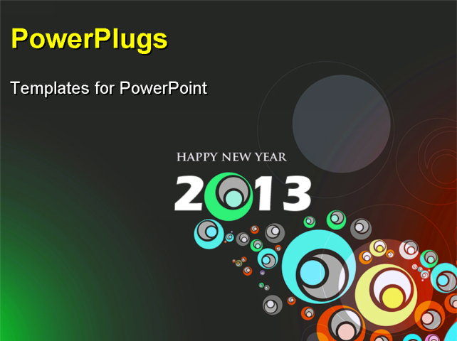 PowerPoint Template - abstract new year 2013 colorful design. Vector illustration - Title Slide