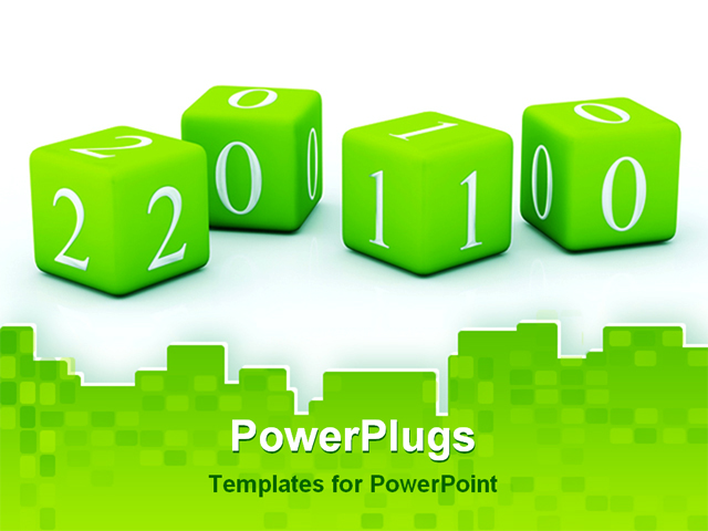 Best Newyear PowerPoint Template - 2010 New Year bricks isolated ...