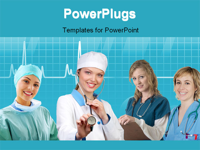 nurse with stethescope PowerPoint Template Background of nurse medical assistant Nurses co 04