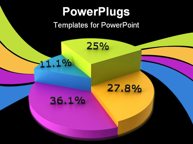 powerpoint template colorful pie chart displaying percents purple blue green and yellow pie. Black Bedroom Furniture Sets. Home Design Ideas