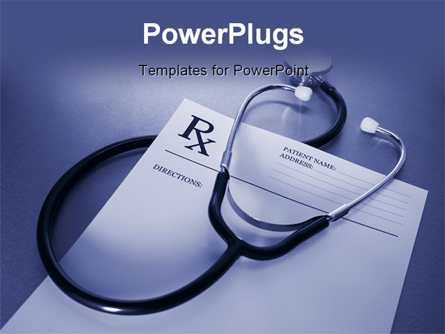 RX prescription form and stethoscope on stainless steel desk blue tone ...