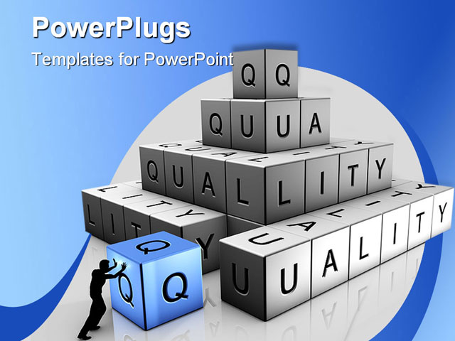 a man puts up bricks of quality powerpoint template