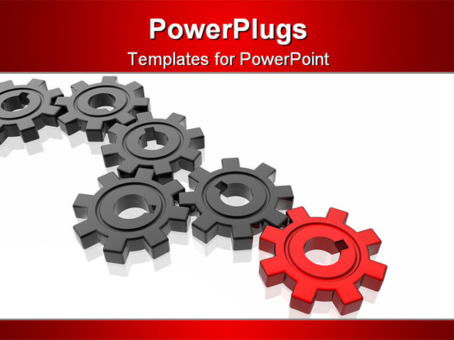 powerpoint template series of black gears terminating