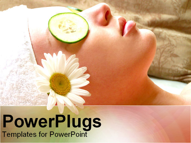 PPT Template - woman relaxing during a facial - Title Slide