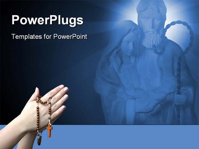 PowerPoint Template - Praying with a rosary background in blue and black background - Title Slide
