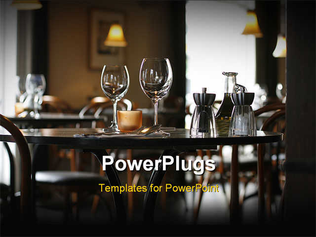 powerpoint template interior of a cozy restaurant focusing on a ready table for two 25106. Black Bedroom Furniture Sets. Home Design Ideas