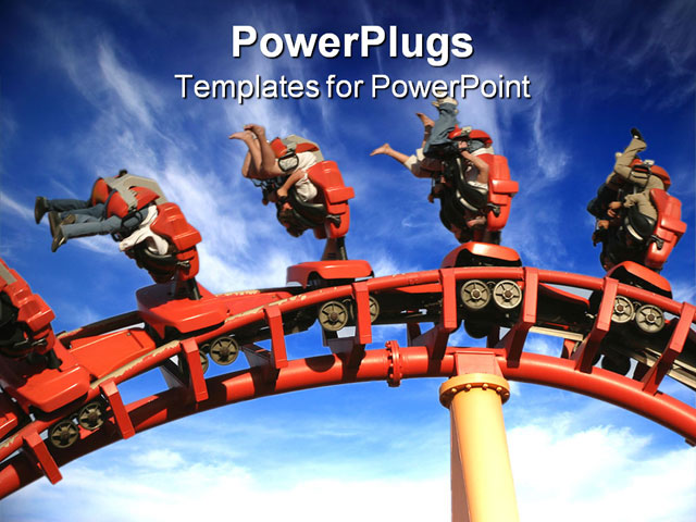 PPT Template - Theme Park Roller Coaster Close up in theme park - Title Slide