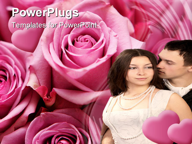 PowerPoint Template - Pink - purple bouquet of roses in a close up detail - Title Slide