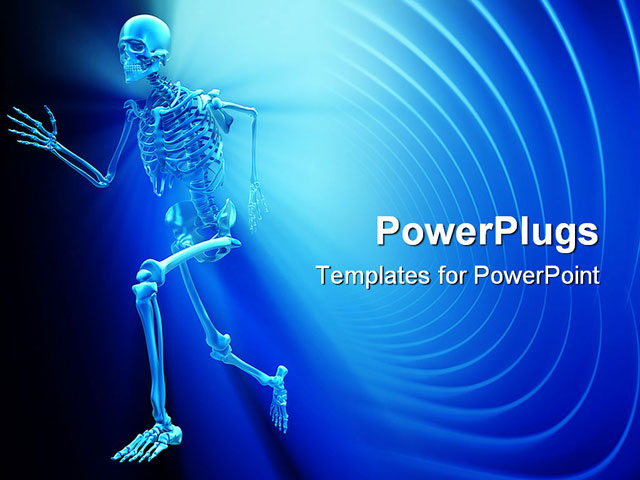 Human Skeleton Running Powerpoint Template Background Of Skeleton Running Anatomy Athlete