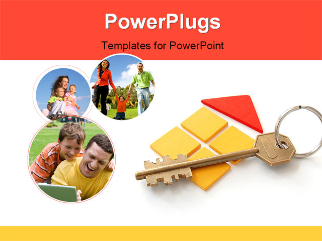 PowerPoint Template - symbolic toy house with key on key ring - Title Slide