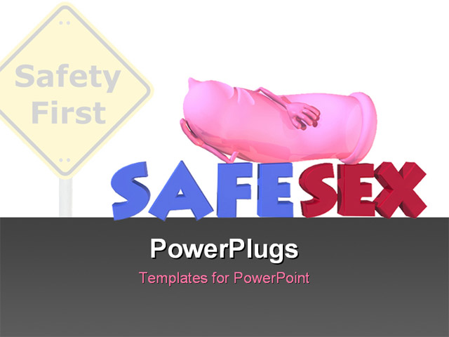 PowerPoint Template Displaying Road Sign Reads Safety First with Pink Colored Condom Advocating Safe Sex