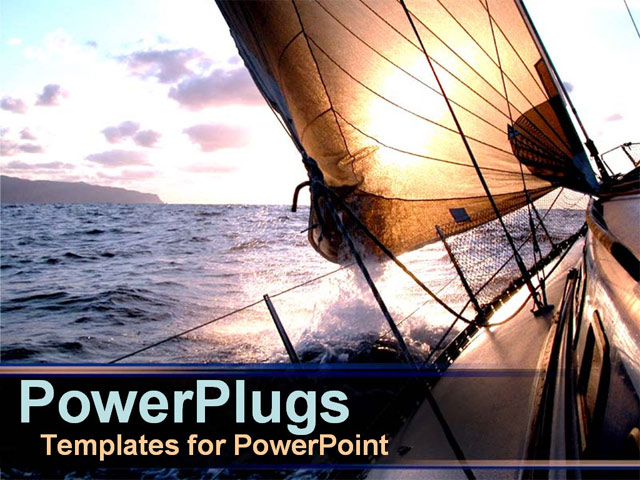 PowerPoint Template - Sail boat in water - Title Slide