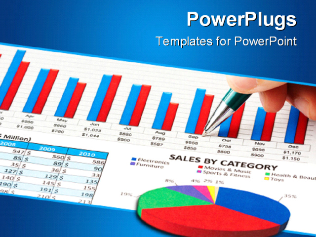 best powerpoint template closeup of pen showing on sales